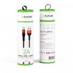 Кабель Lightning - USB 2A IQFuture IQ-UL2A для зарядки и передачи данных 1.2 метра