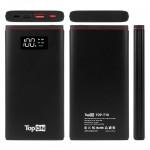Внешний аккумулятор TopON TOP-T10 10000mAh QC3.0, QC2.0, Power Delivery. USB Type-C, MicroUSB, USB-порт, LED-экран. Черный