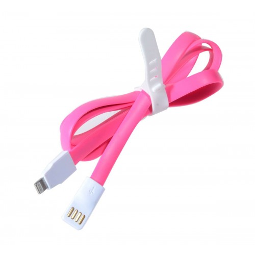 Кабель для iPhone 5/5S плоский, розовый
