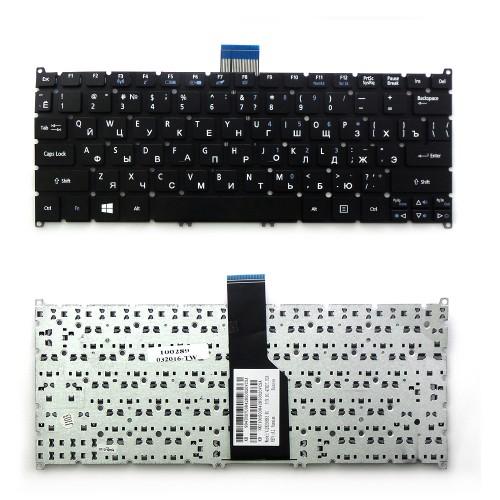 Клавиатура для ноутбука Acer Aspire One Acer Aspire S3, S5, One 756, TravelMate B1 Series. Г-образный Enter. Черная, без рамки. PN: 9Z.N7WPW.20R