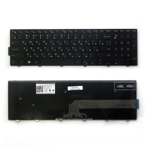 Клавиатура для ноутбука Dell Inspiron 15-3000, 15-5000 Series. Плоский Enter. Черная, с черной рамкой. PN: PK1313G1A00.