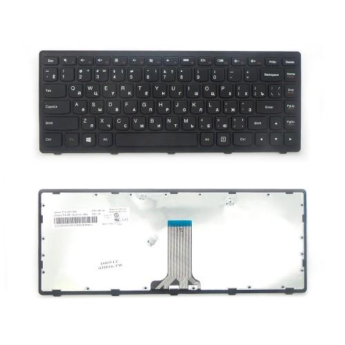 Клавиатура для ноутбука LenovoG400S, G405S, G410S, S410P Series. Плоский Enter. Черная, с черной рамкой. PN: V-142920AS1.