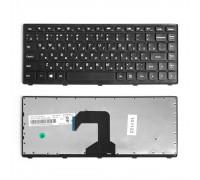 Клавиатура для ноутбука Lenovo IdeaPad S300, S400, S405 Series. Плоский Enter. Черная, с черной рамкой. PN: 25-205086.
