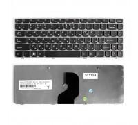 Клавиатура для ноутбука Lenovo IdeaPad Z450, Z460, Z460A, Z460G Series. Плоский Enter. Черная, с серой рамкой. PN: 25-010886.