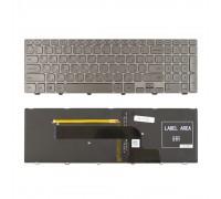 Клавиатура для ноутбука Dell Inspiron 15-7000 15-7537  Series. Плоский Enter. Серебристая, с серебристой рамкой. С подсветкой. PN: 0KK7X9.