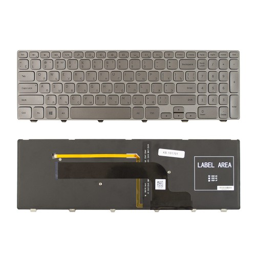Клавиатура для ноутбука Dell Inspiron 15-7537, 15-7737, 15-7746 Series. Плоский Enter. Серебристая, с серебристой рамкой. С подсветкой. PN: 0KK7X9.
