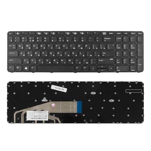 Клавиатура для ноутбука HP ProBook 450 G3, 455 G3, 470 G3, 650 G2, 655 G2 Series. Плоский Enter. Черная, с черной рамкой. PN: 831023-001, NSK-CZ1BV.