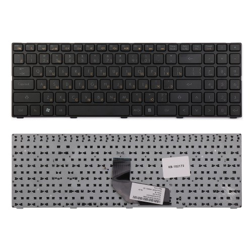 Клавиатура для ноутбука DNS 0158644, 0162830, 0162831 Series. Плоский Enter. Черная, с рамкой. PN: AETWCU00010.