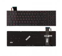 Клавиатура для ноутбука Asus GL552 Series. Плоский Enter. Черный, без рамки. С подсветкой. PN: NSK-UPSBU 0R, 0KNB0-662GRU00, 0KN0-RZ1RU13.