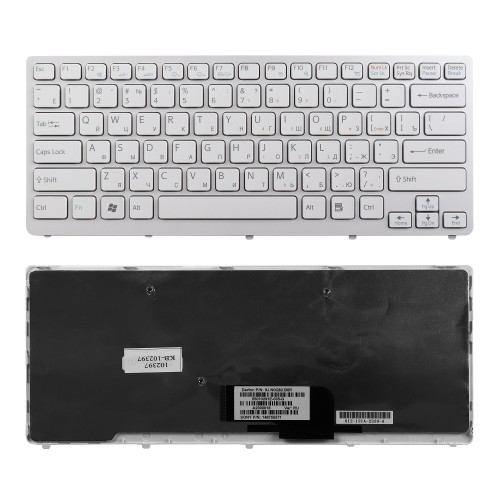 Клавиатура для ноутбука Sony Vaio VPC-CW, VGN-CW, VGNCW Series. Плоский Enter. Белая. С белой рамкой. PN: NSK-S7A0R, 9J.N0Q82.A0R.