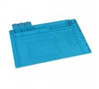 Коврик силиконовый термостойкий 45х30см A3 для ремонта и пайки электронных компонентов и микросхем. 180 секций, магнитные площадки. Цвет синий