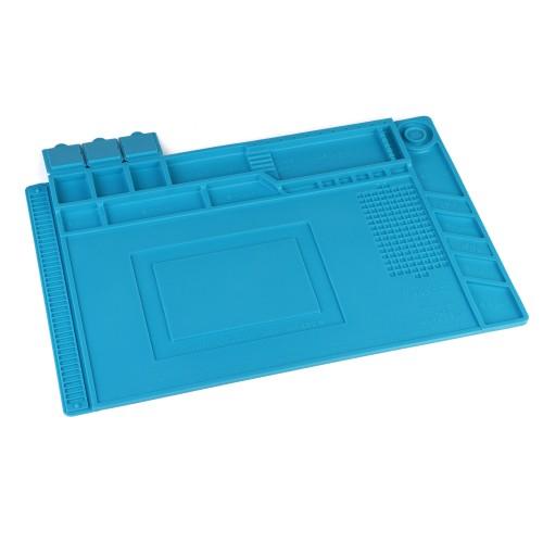 Коврик силиконовый термостойкий 45х30см A2 для ремонта и пайки электронных компонентов и микросхем. 180 секций, магнитные площадки. Цвет синий