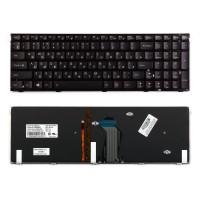Клавиатура для ноутбука Lenovo Y500, Y500N Series. Плоский Enter. Черная с рамкой. С подсветкой. PN: T4B9-US, 25205474, PK130RR3A00.
