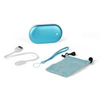 Карманная электрическая грелка в алюминиевом корпусе с функцией PowerBank 5200mAh. Цвет синий