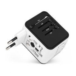 Адаптер IQ-TA для путешествий EU/US/UK/AU, 3 USB, Type-C, чехол-сумка