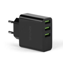 Сетевая зарядка IQFuture IQ-TA35 на 3 USB, LED-экран. Черный