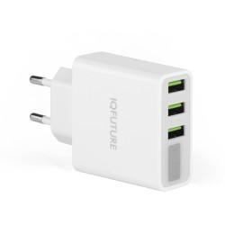 Сетевая зарядка IQFuture IQ-TA35 на 3 USB, LED-экран. Белый