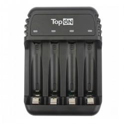 Зарядное устройство TopON для 1-4 аккумуляторов типа AA/AAA Ni-MH и Ni-Cd, LED индикатор, MicroUSB 5V, черное TOP-CH500