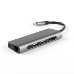 USB-концентратор IQFuture IQ-C7 Type-C USB Hub 7 в 1, USB-C PD, 2 порта USB 3.0, RJ-45, HDMI, Micro/SD кардридер, кабель Type-C 9.5 см