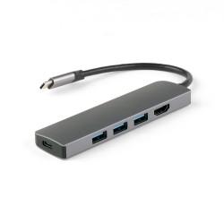 USB-концентратор IQFuture IQ-C5 Type-C USB Hub 5 в 1, USB-C PD, 3 порта USB 3.0, HDMI, кабель Type-C 12 см