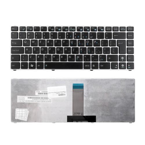 Клавиатура для ноутбука Asus Eee PC 1201, 1215, 1225, Lamborghini VX6 Series.Г-образный Enter. Черная, с серебристой рамкой. PN: 9J.N2K82.90R.