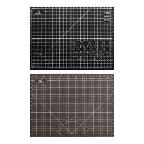 Коврик для макетирования и резки 45x60см A2 двусторонний с разметкой. ПВХ с самовосстанавливающимся покрытием. Цвет черный