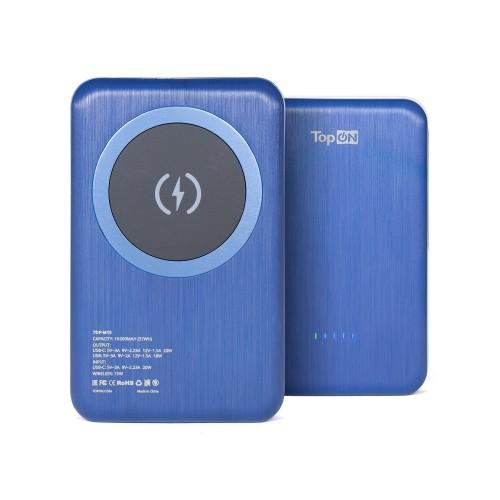 Внешний аккумулятор TopON TOP-M10 10000mAh магнитная беспроводная зарядка Qi 15W, PD 20W Синий