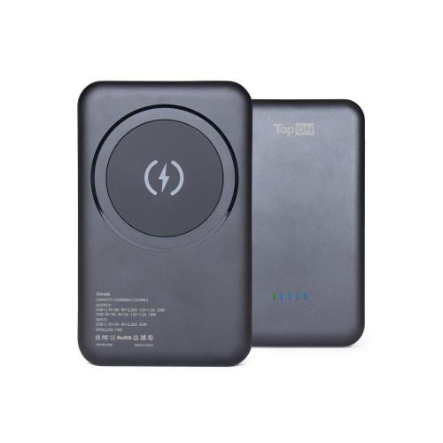 Внешний аккумулятор TopON TOP-M5 5000mAh магнитная беспроводная зарядка MagSafe Qi 15W, PD 20W Черный