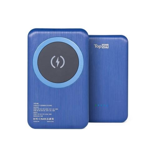 Внешний аккумулятор TopON TOP-M5 5000mAh магнитная беспроводная зарядка MagSafe Qi 15W, PD 20W Синий