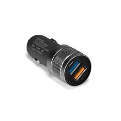 Автозарядка IDMIX C06S 18W на 2 USB-порта с функцией быстрой зарядки Qualcomm QC 3.0. Черная.