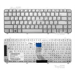 Клавиатура для ноутбука HP Pavilion HP DV5-1000, DV5-1100 Series. Плоский Enter. Серебристая, без рамки. PN: AEQT6700040.
