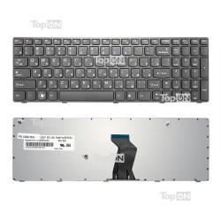 Клавиатура для ноутбука Lenovo B570, V570, Z570 Series. Плоский Enter. Черная, с черной рамкой. PN: 25-011910.