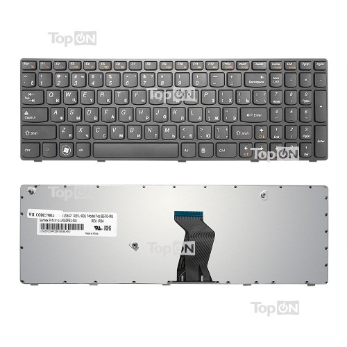 Клавиатура для ноутбука Lenovo G570, G575, G770, Z560, Z565 Series. Плоский Enter. Черная, с черной рамкой. PN: 9Z.N5SSC.00R, G570-RU.