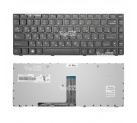 Клавиатура для ноутбука Lenovo B470, G470, V470 Series. Плоский Enter. Черная, с черной рамкой. PN: 9Z.N5TSW.B0R.