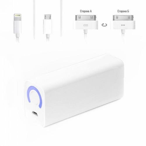 Ультракомпактный внешний аккумулятор 3000mAh (11Wh) с USB-портом, для зарядки смартфонов, планшетов и цифровой техники. Белый.