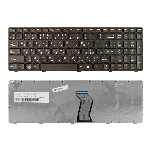 Клавиатура для ноутбука Lenovo Ideapad  Z570, B570, B575, B590, V570, V580, Z575 Series. Плоский Enter. Черная, с черной рамкой. PN: 25201000.