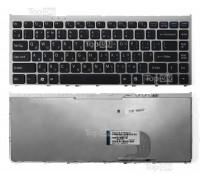Клавиатура для ноутбука Sony Vaio VGN-FW, VGNFW Series. Плоский Enter. Черная, с серебристой рамкой. PN: 148084121.