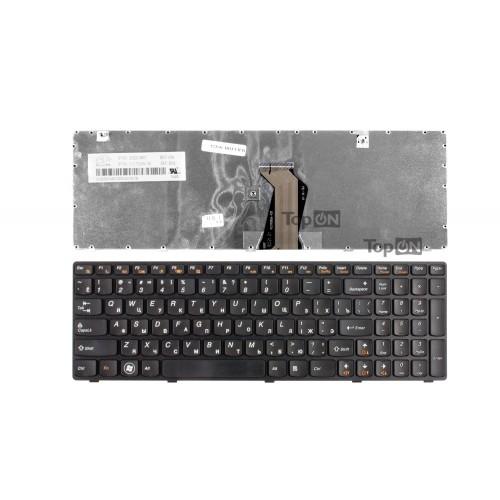 Клавиатура для ноутбука Lenovo Ideapad G580, G585, G780, V580, Z580, Z585, Z780 Series. Плоский Enter. Черная, с черной рамкой. PN: AELZ3700110.