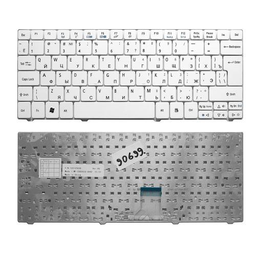 Клавиатура для ноутбука Acer 1810, 1830T, 721, 722, 751 Series. Г-образный Enter. Белая без рамки. PN: NSK-AQ00R.