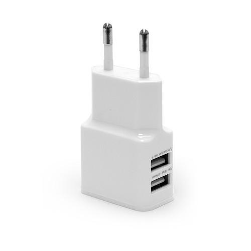Ультракомпактное зарядное устройство с двумя USB портами для зарядки Apple iPhone, iPad, Samsung Galaxy, Xiaomi, Huawei, Sony. Замена: EP-TA20. Белый.